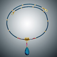 London Blue Quartz and Pink Quartz Necklace by Judy Bliss (Gold & Stone Necklace)