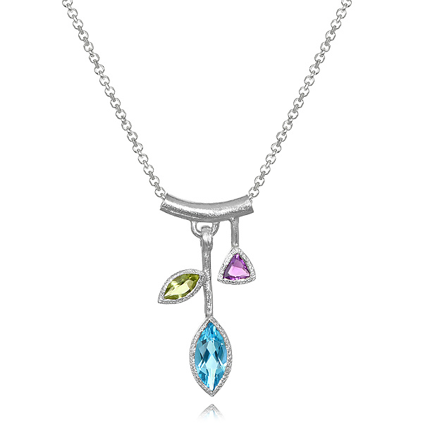 Small Blue Topaz Petal Necklace