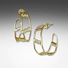 Gold Ladder Hoops by Suzanne Q Evon (Gold Earrings)