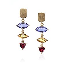 Gold Jewel Drop Earrings by Suzanne Q Evon (Gold & Stone Earrings)