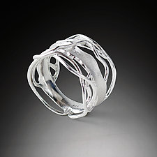 White Rhodium Edge Ring by Suzanne Q Evon (Silver Ring)