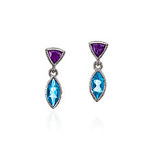 Blue Topaz and Amethsyt Pesce Earrings by Suzanne Q Evon (Silver & Stone Earrings)