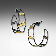 Black and Gold Ladder Hoops by Suzanne Q Evon (Bimetal Earrings)