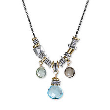 Blue Quartz Jambalita Necklace by Suzanne Q Evon (Silver & Stone Necklace)