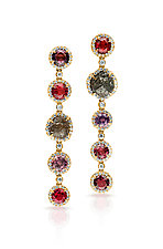 Diamond & Spinel Earrings by Pamela Huizenga  (Gold & Stone Earrings)