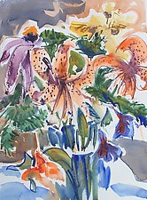 Two Tiger Lilies in a Vase by Alix Travis (Watercolor Painting)