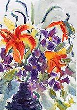 Day Lillies, Clemantis with Garlic Scapes by Alix Travis (Watercolor Painting)