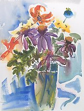 Tiger Lily with Spent Poppy by Alix Travis (Watercolor Painting)