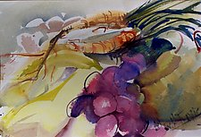 Squash, Grapes, Pears with Carrots by Alix Travis (Watercolor Painting)