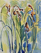 Bulrushes Beside the River by Alix Travis (Watercolor Painting)