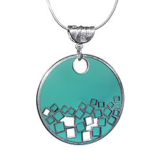 Square Peg Necklace by Velina Glass (Silver & Resin Necklace)