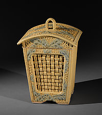 Lantern with Woven Inset and Wide Leaf Carving by Jim and Shirl Parmentier (Ceramic Vessel)