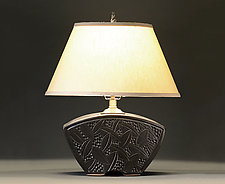 Keystone Lamp with Leaf Carving by Jim and Shirl Parmentier (Ceramic Table Lamp)