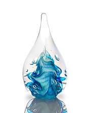 Aqua Teardrop Dicro by The Glass Forge (Art Glass Paperweight)