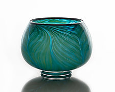 Feathered Green/Blue Open Bowl by The Glass Forge (Art Glass Bowl)