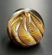 Topaz Urchin by The Glass Forge (Art Glass Paperweight)
