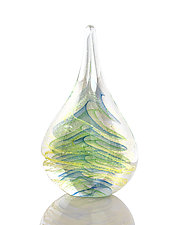 Twisted Teardrop by The Glass Forge (Art Glass Paperweight)