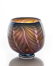 Large Feathered Open Bowl by The Glass Forge (Art Glass Bowl)