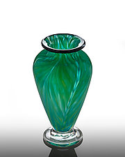 Feathered Green Small Vase by The Glass Forge (Art Glass Vase)