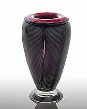 Folded Lip Feathered by The Glass Forge (Art Glass Vase)