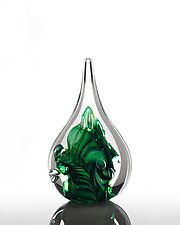 Green Trail with a Twist Flame by The Glass Forge (Art Glass Paperweight)