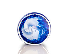 Flat Blue Wave Weight by The Glass Forge (Art Glass Paperweight)