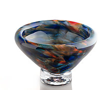 Earthtone Blue Sunrise Bubble Bowl by The Glass Forge (Art Glass Bowl)