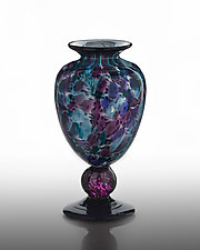 Footed Small Vase by The Glass Forge (Art Glass Vase)