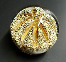 Earthtone Spotted Urchin by The Glass Forge (Art Glass Paperweight)