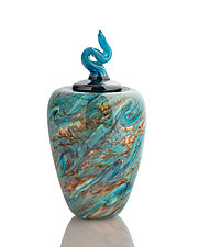 Earth-Tone Crater Lake Blue Twist Urn by The Glass Forge (Art Glass Bottle)