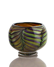 Purple and Green Feathered Bowl by The Glass Forge (Art Glass Bowl)