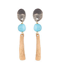 Slab and Vintage Glass Earrings by Natalie Frigo (Silver, Bronze & Glass Earrings)