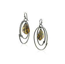 Wing Hoop Earrings by Jenny Reeves (Gold & Silver Earrings)