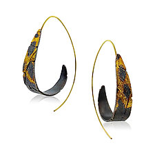 Spiral Dahlia Hoop Earrings by Jenny Reeves (Gold & Silver Earrings)