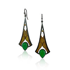 Terra Lotus Earrings by Jenny Reeves (Gold, Silver & Stone Earrings)