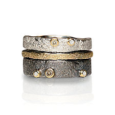 Bedrock Stacking Bands by Jenny Reeves (Gold, Silver & Stone Ring)