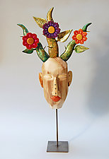 Wildflower Face by Elizabeth Frank (Wood Sculpture)