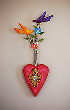Lovebirds Heart by Elizabeth Frank (Wood Wall Sculpture)