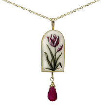 Painted Tulip Pendant by Christina Goodman (Gold & Stone Necklace)