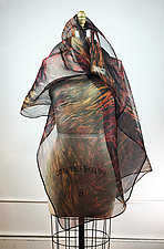 Hand Painted Arashi Shibori Shawl by Michael Kane  (Silk Scarf)