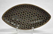 Oblong Polka Dot Bowl by Kelly Jean Ohl (Ceramic Bowl)