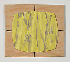 Yellow Field on Earth Orange by Kristi Sloniger (Ceramic Wall Sculpture)