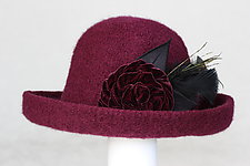Brimmed Hat with Flower Pin by Tess McGuire (Wool Hat)