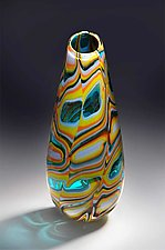 Patternscape Teardrop in Green and Caribbean Blue by Helen Rudy (Art Glass Sculpture)