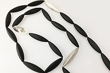 Long Black Onyx Necklace with Silver Elements by Claudia Endler (Silver & Stone Necklace)