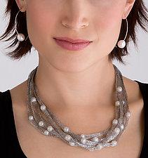 Pearl on Silver Wire Earrings by Claudia Endler (Silver & Pearl Earrings)