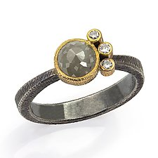 Trio Nero Ring by Davide Bigazzi (Gold, Silver & Stone Ring)