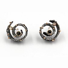 Black Hole Earrings by Davide Bigazzi (Gold, Silver & Stone Earrings)