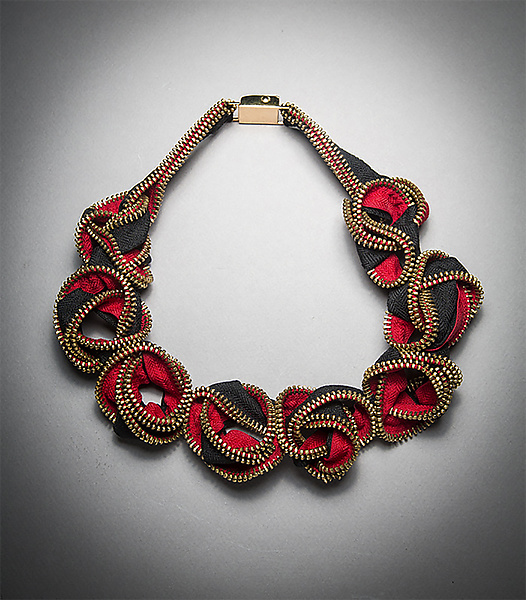 Red Nexus Zipper Necklace