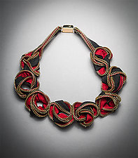 Red Nexus Zipper Necklace by Kate Cusack (Zippered Necklace)